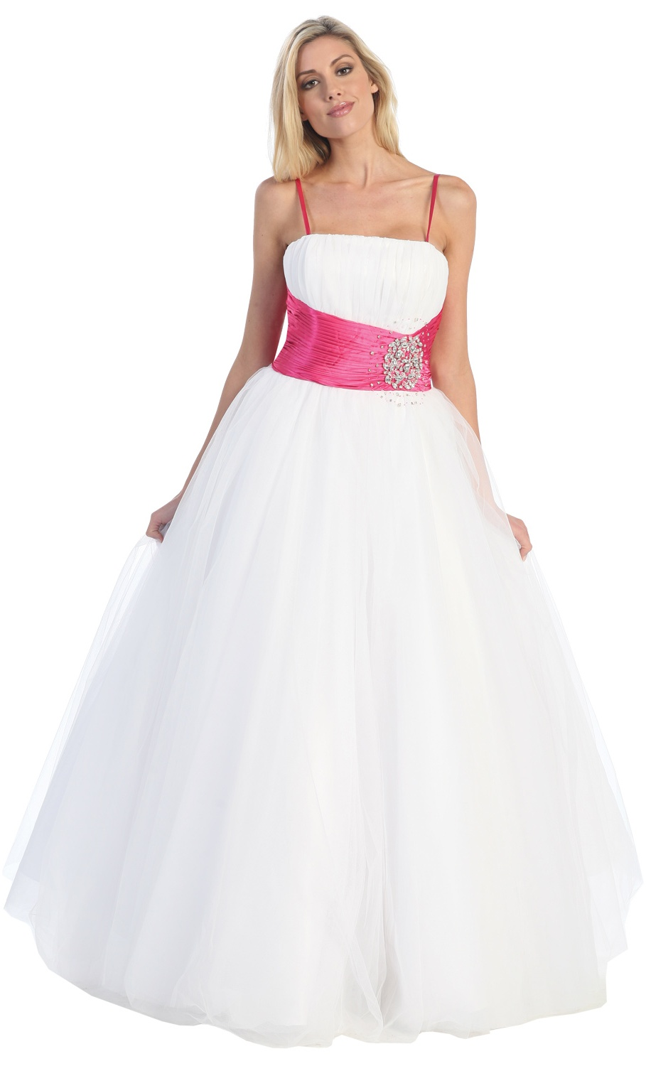 Robe de soiree rose blanc