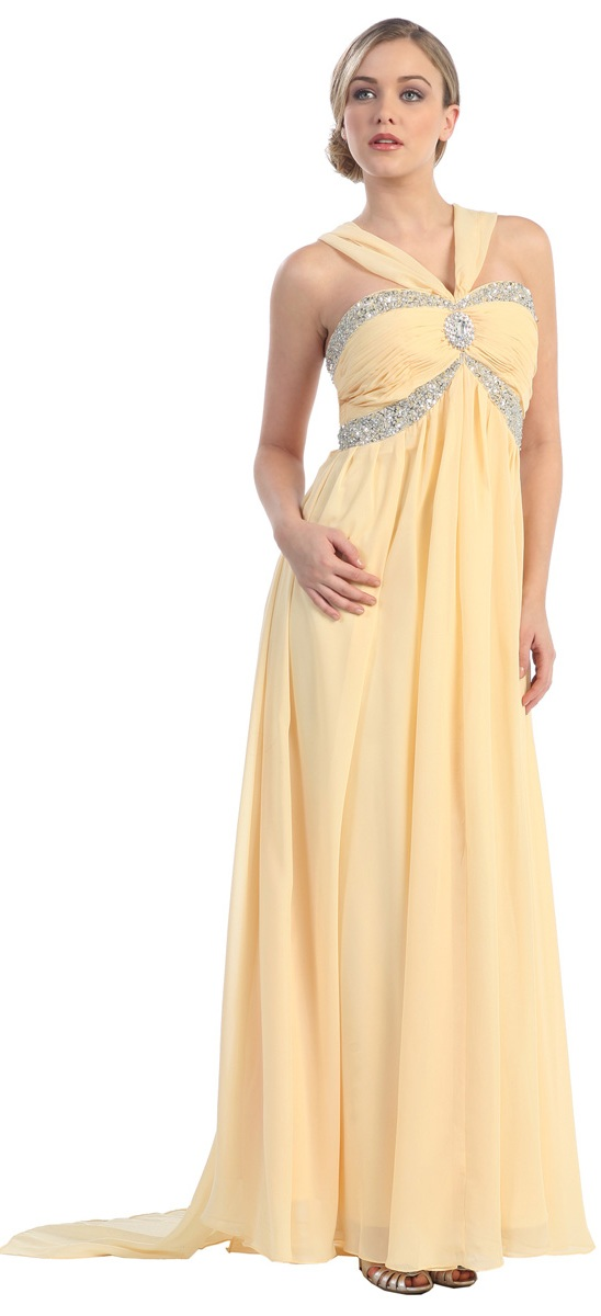 - Robe empire longue en mousseline de soie 01626